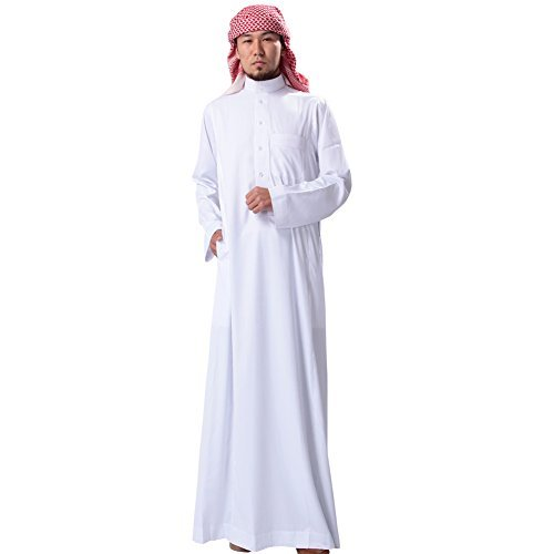 H Hrokk KSH Men's Muslim Solid White Business Saudi Arabic Thobe Size L by H Hrokk