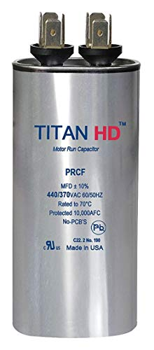 Titan Hd Round Motor Run Capacitor, 40 Microfarad Rating, 440VAC Voltage - -