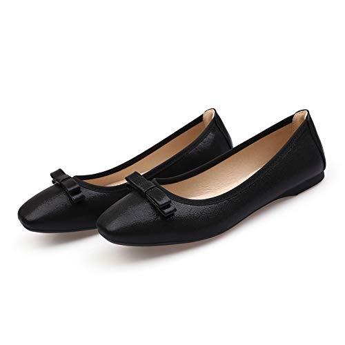 FLYRCX Zapatos de Mujer Solos Zapatos de Maternidad Antideslizantes de la Boca Baja Suave de la Moda Zapatos de Baile cómodos Zapatos de Trabajo black