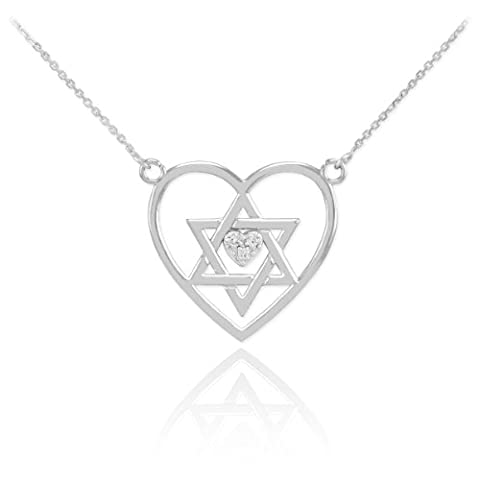 925 Sterling Silver CZ Heart Charm Jewish Star of David Pendant Necklace (Star Of David Silver Pendant)