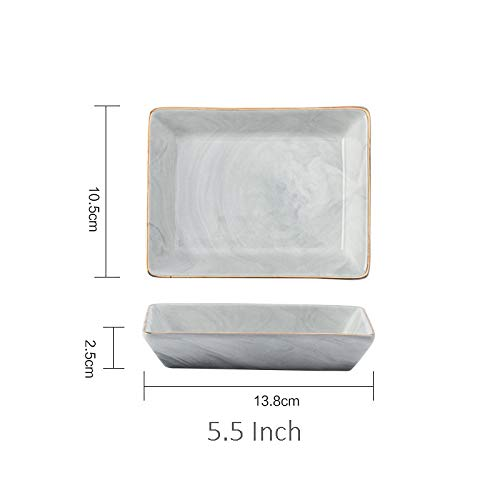 e Gold Marble Ceramic Plate Dish Dessert Food Plate Jewelry Ring Necklace Dish Bathroom Vanity Storage Tray Trinket Dish ()