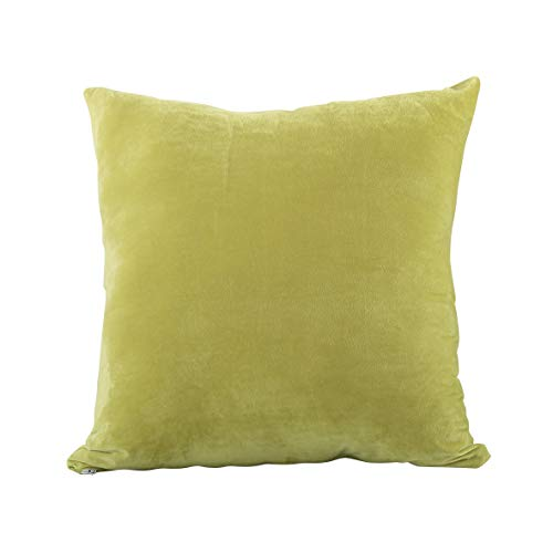 (EVOLIVE Soft Micromink, Faux Fur, Faux Suede Euro Sham Cover Pillowcase Replacement with Zipper Closure (Lime, 26
