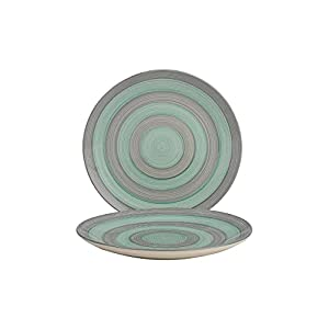 ANK Home Craft Hand Painted Ceramic Dinner Plate, Green & Grey (Set of 2 )Dishwasher & Microwave Safe-10.3 Inches…