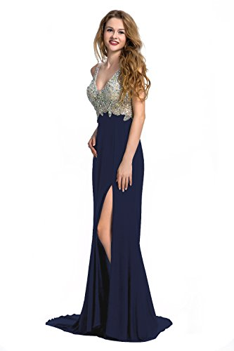 Manfei Women's 2019 V-Neck Crystal Beaded Mermaid Long Prom Dress Slit Side (2, Navy Blue)