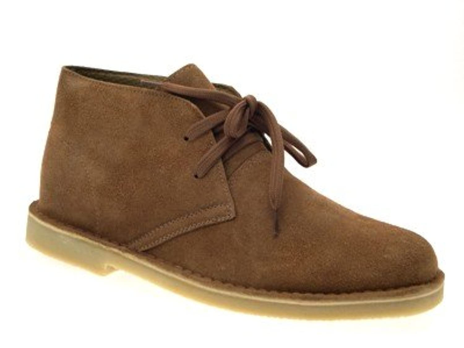 MENS BOYS FULL SUEDE LEATHER LACE UP DESERT BOOTS ANKLE DESSERT SHOES MID BROWN SIZE 6