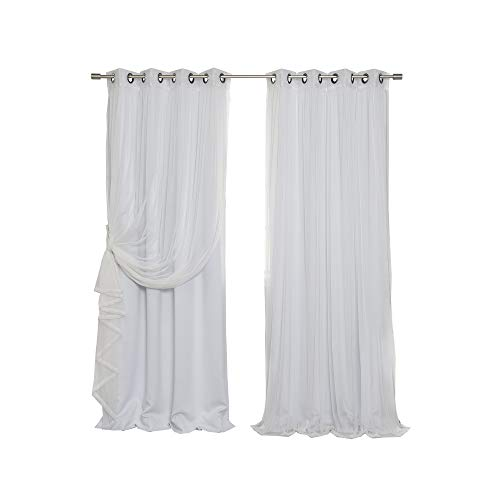 Best Home Fashion Mix & Match Tulle Sheer Lace and Blackout Curtain Set - Stainless Steel Nickel Grommet Top - Vapor - 52
