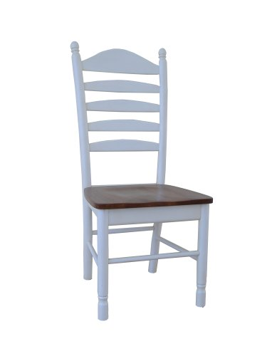 International Concepts C60-271P Pair of Madison Park Ladder-Back, Chairs Heritage Pearl/Oak