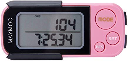 MAYMOC 3D Pedometer and Step Tracker for Walking Steps Miles/Km Accurate Portable Clip on Sports Fitness Daily Target Monitor Exercise Distance Calories Counter with Lanyard and 30 Days Memory Pink