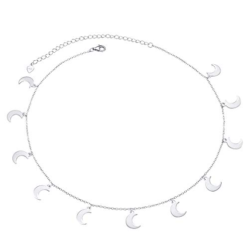 Sterling Silver Jewelry Choker Necklace Pendant Disc Chain Statement Necklace For Women Girls 13+3 inches (Moon)