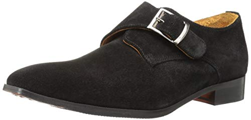 Monk Carlos Men's by Suede Calfskin Loafer Santana Black Carlos Freedom Strap wxXTOt