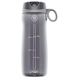 Pogo BPA-Free Plastic Water Bottle with Flip Straw, Grey, 18 oz Standard