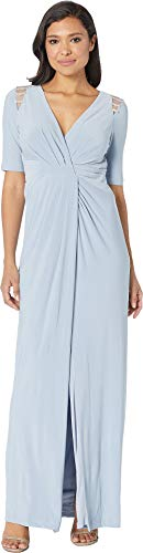 Adrianna Papell Women's Embellished Trim Jersey Evening Gown Ice Blue 16