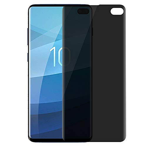 Galaxy S10 Plus Screen Protector Privacy [Full Adhesive] [Fingerprint Sensor Supported] AMOVO Flexible Tempered Glass for Samsung Galaxy S10 Plus (6.4) [0.2mm Anti-Edge Chipping] (S10 Plus, Privacy)