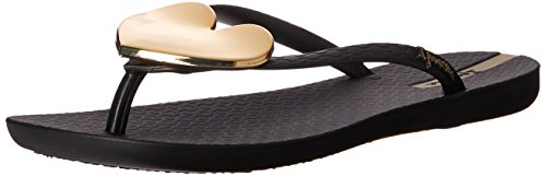 Ipanema Women's Wave Heart Flip-Flop, Black/Gold, 9 M US