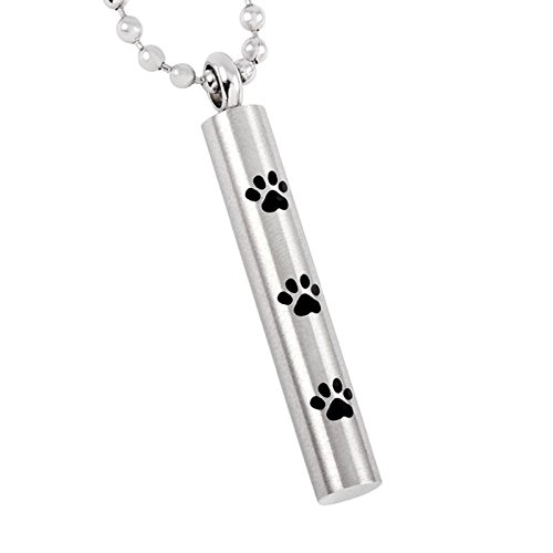 Loss Of Pet Memorial Locket Hold Dog Paw Cylinder Cremation Urn Pendant Necklace For Ashes Keepsake by EternityMemory (Image #1)