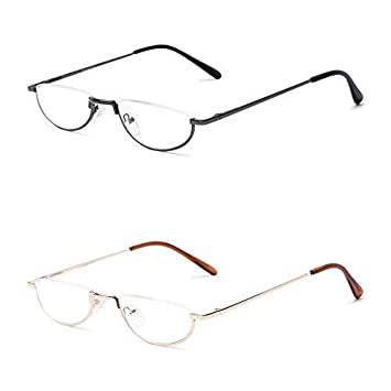 6f76369d67a 2 Pack AMILLET Vintage Half Moon Reading Glasses Semi Frame Classic Readers  for Men and Women