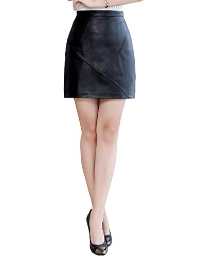 100FIXEO Women's Faux Leather High Waist Zipper Bodycon Mini Pencil Skirt (Black, X-Large)