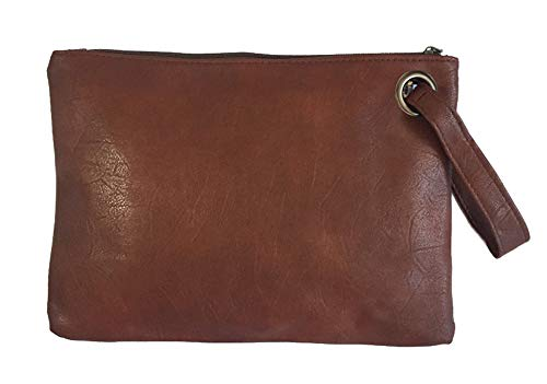 Hycurey Oversized Clutch Bag Purse and Handbag Womens Large PU Leather Evening Wristlet Handbags Darkbrown ()