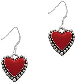 Enamel Heart Beaded Border French Earrings