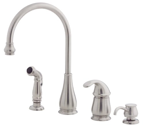 Pfister LG264DSS Treviso 1-Handle Kitchen Faucet with Side Spray & Soap Dispenser in Stainless Steel, Water-Efficient Model