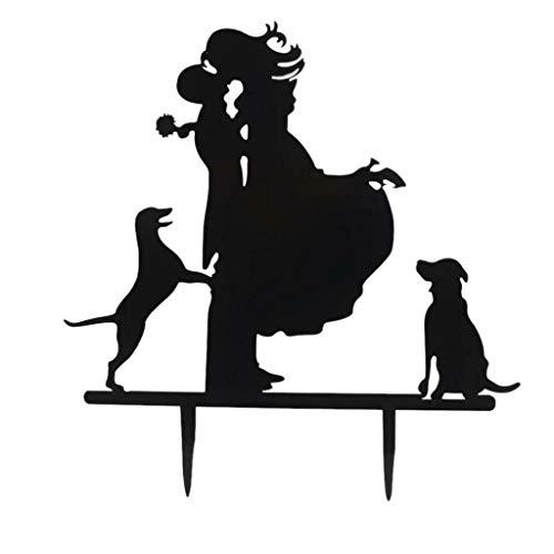 BROSCO Black Acrylic Wedding Mr Mrs Bride Groom Cake Topper Anniversary Favor Decor | Design - Bride Groom and Dog