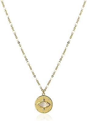 Anartxy Collar de Acero Chapado en Oro y Piedra Natural Ojo de Gato