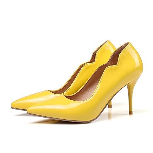 Bomba básicos Verano Red Mujer Amarillo de de Poliuretano Rojo Tacón ZHZNVX PU Tacones Aguja de Rosa Zapatos de 10xvqw8