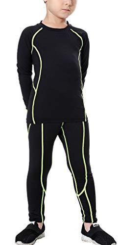 LANBAOSI Boys & Girls Long Sleeve Compression Shirts and Pant 2 Pcs Set, Green Line, 10, 26/140 ()