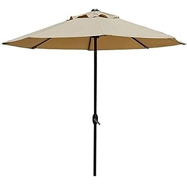 Abba Patio 9' Patio Umbrella Outdoor Table Market Umbrella with Push Button Tilt and Crank, Beige