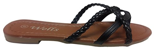 Flip Cross Flat Sandals Flop Fashion Black Elegant Womens Braided Criss Strappy YBWZOqI