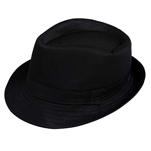 HDE Kid's Short Brim Trilby Fedora Hat (Black)]()