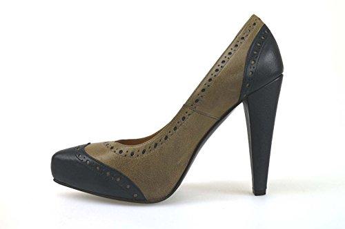 Dei Mille - Zapatos de vestir de Piel para mujer Marrón Marrone/Grigio 36,5/37/39