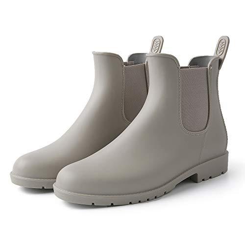 Yvmurain Women's Short Rain Boots Waterproof Anti Slip Rubber Ankle Chelsea Booties (US 7 B(M) / EU 37, Gray) (Best Short Rain Boots)