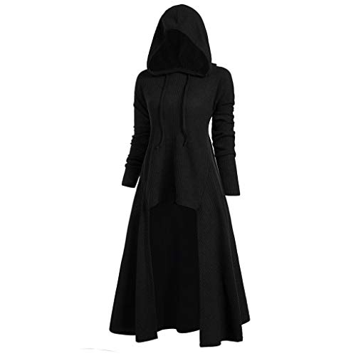 Bella Pullover Hooded (Women Hooded Sweatshirt Dress Long Sleeve Medieval Vintage Lace Up High Low Cloak Robe (L, Black))