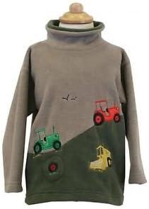 Childrens//embroidered//Hillside//Tractors//Fleece//Camel//Olive//Green//crew neck//New