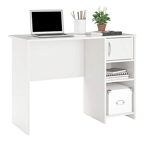 - -Ameriwood Basics Collection White Eli Computer Desk, Home Desk with Drawer and Cubby Combo, Made from Laminated Particleboard with Clean White Finish