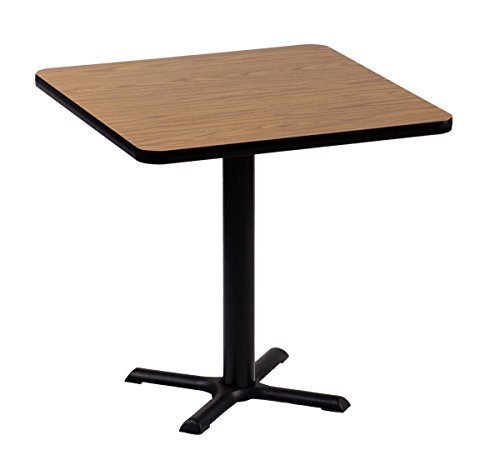 Correll BXT24S-06 Medium Oak Top and Black Base Square Bar, Café and Break Room Table, - Top Medium Oak Table