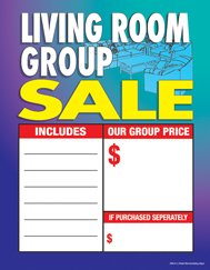 "C80LIV Living Room Group Sale - Large Price Cards - Sale Tags - 8 1/2"" x 11"" (100 Pack) Business Store Signs"