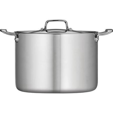 Tramontina 80116/564DS Stainless Steel Tri-Ply Clad Covered Stock Pot, 12-Quart, Made in China