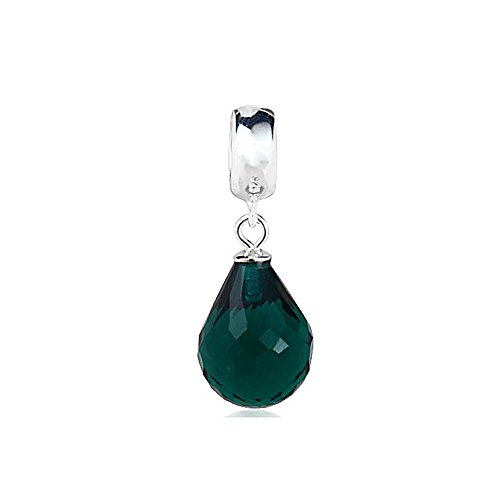Everbling Simulated Emerald Color Faceted Beauty Murano Glass Dangle May Birthstone 925 Sterling Silver Bead Fits Pandora Charm Bracelet