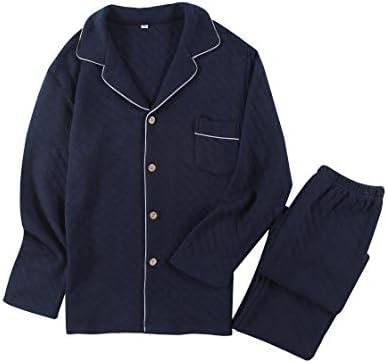 パジャマ メンズ 二重ガーゼ 冬 上下セット ルームウェア 部屋着 長袖 前開き 綿100% スウェット ポケット付き