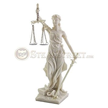 8 Inch Lady Justice Marble Finish Resin Statue Figurine, White
