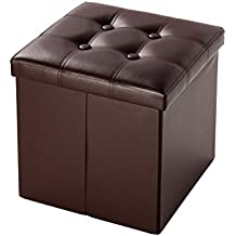 Faux Leather Cube Folding Storage Ottoman With Tufted Design 15 Inches, Brown by Juvale