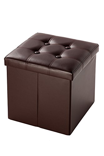 Faux Leather Cube Folding Storage Ottoman With Tufted Design 15 Inches, Brown by Juvale (Ottoman Wooden Small)