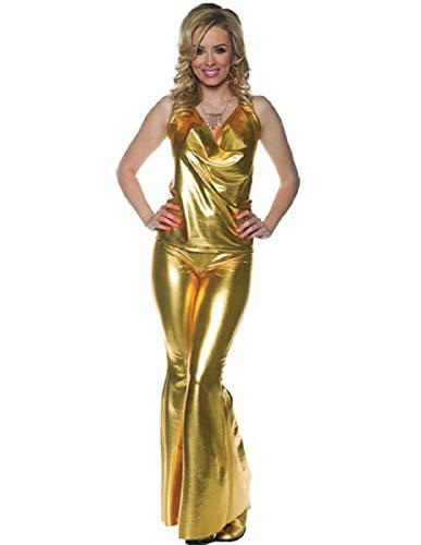 Underwraps Women's 1970s Disco Costume Set-Ladies Night-Gold, -