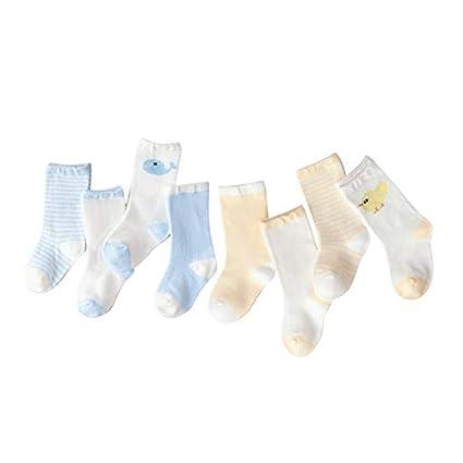 8 Pares Calcetines de Algodón para Bebés Niños Niñas Pequeños Respirable Antideslizante Calcetín 6-18