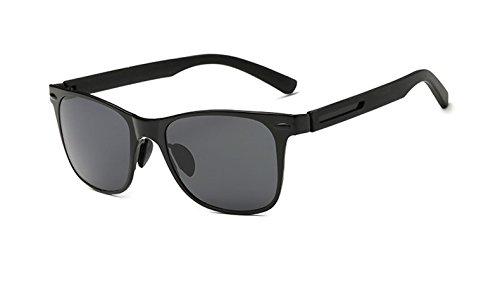 Flowertree Unisex SA308 Flat Metal Silicone Arm Wayfarer Polarized Sunglasses (black+grey, - Metal Flat Polarized Wayfarer