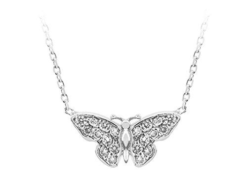 Collier Papillon Diamants-Femme- or Blanc 204P0019