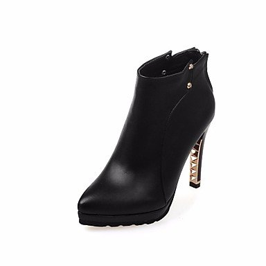 Boots Basic Women'S Knee EU35 Stiletto High Shoes UK3 Heel Beige Studded For Spring Red US5 RTRY Boots Pointed Pu Toe CN34 Black Pump Casual Fall 6Xpddw