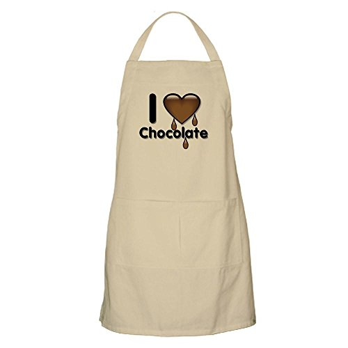 CafePress I Love Heart Chocolate Lover BBQ Kitchen Apron with Pockets, Grilling Apron, Baking Apron